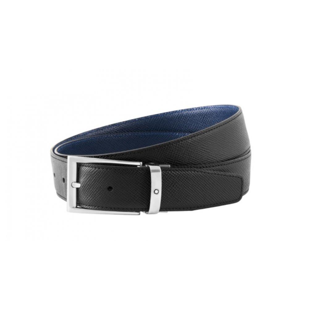 Cintura Montblanc reversibile regolabile nera/blu 118438