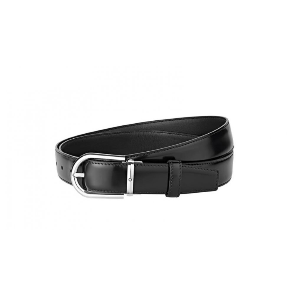 Cintura Montblanc reversibile regolabile nera lucida/opaca 126012