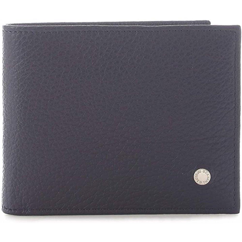 Orciani, portafoglio micron in pelle con portamonete blu navy SU0093MIC-NVY