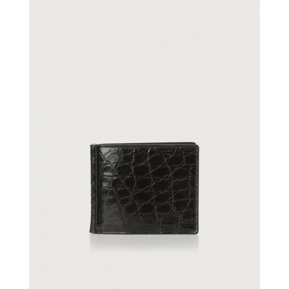 Orciani Portafoglio In Alligatore Con Clip Ferma-Banconote Nero SU0043ALL