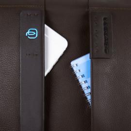 Piquadro Cartella Porta Computer Espandibile Con Tasca Porta Ipad®Mini E Porta Ipad®Air/air2 Imbottito Pulse Blu Notte