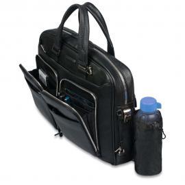 Piquadro Borsa Sottile Porta Computer E Porta Ipad®Air/air2 A Due Manici Con Tasche Frontali Organizzate Modus Blu Notte