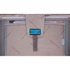 Piquadro Cartella Porta Computer A Due Chiusure Con Patta, Scomparto Porta Ipad®Air/pro 9,7 E Connequ Nero