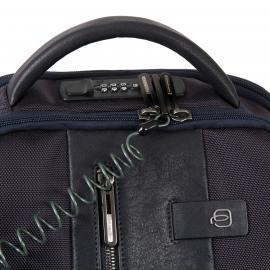 Piquadro Zaino Fast-Check Porta Pc/ipad®Air/pro 9,7, Cavo Antifurto, Placca Usb E Micro-Usb, Anti-Frode Rfid Brief Blu