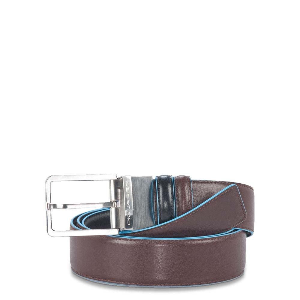 Piquadro Cintura Uomo Reversibile Con Fibbia Ad Ardiglione Nero - Mogano CU2619B2/NMO