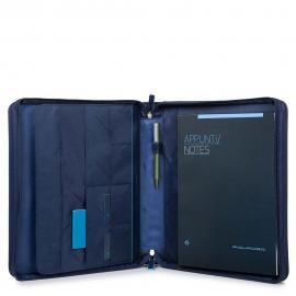 Piquadro Portablocco A4 Anelle Estraibili Tessuto E Pelle Blu PB4224CE