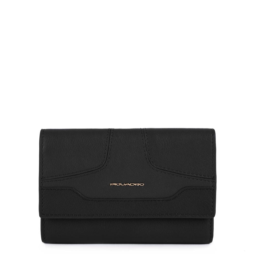 Piquadro, portafoglio donna grande con porta carte nero PD4152S108R/N