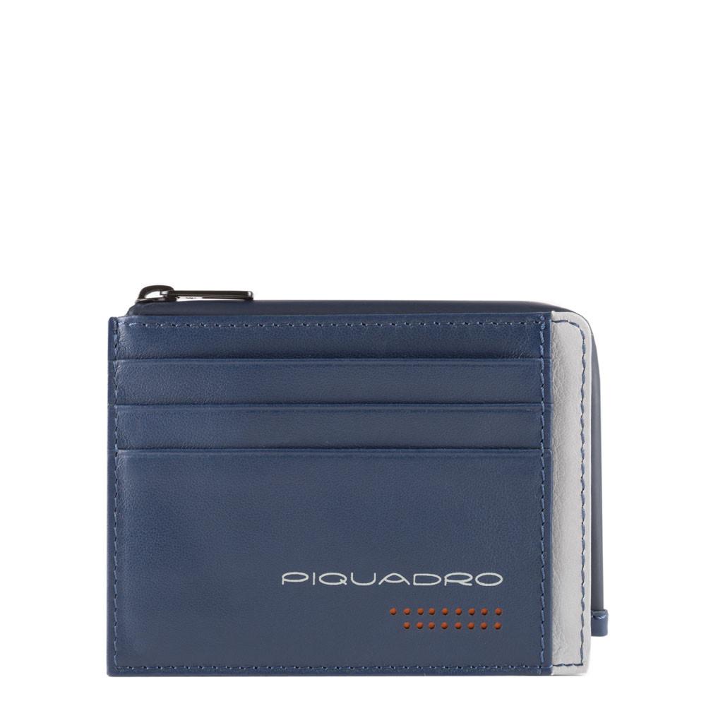 Piquadro, porta carte di credito in pelle blu/grigio PP4822UB00R/BLGR