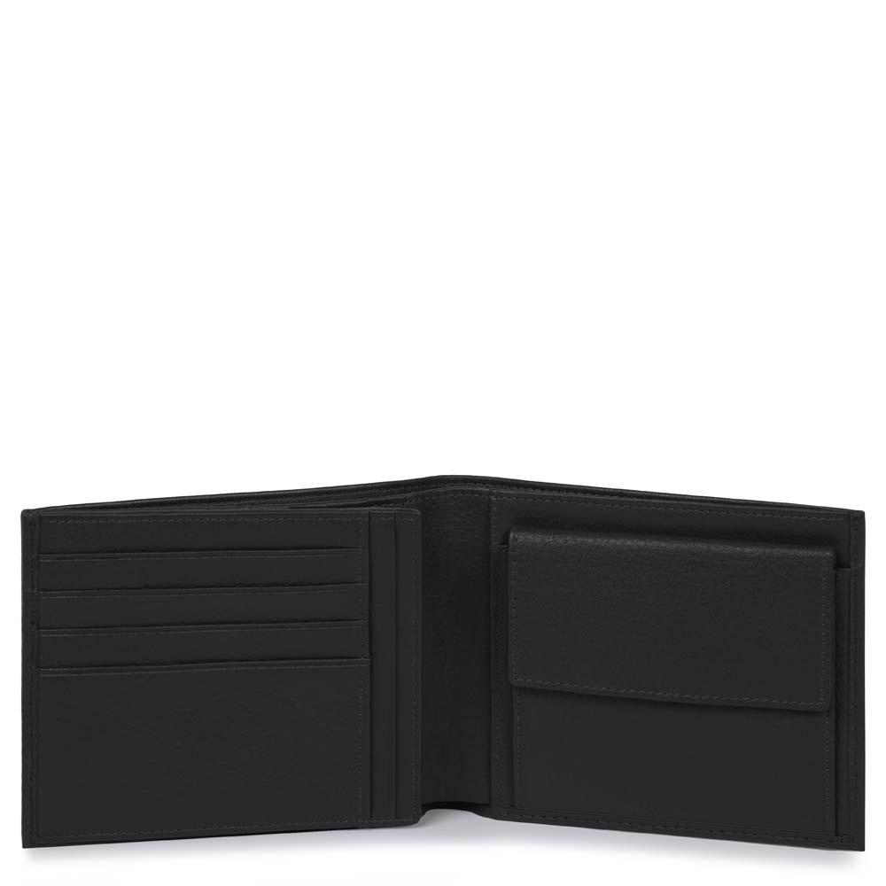 Piquadro Portafoglio Uomo Con Portamonete E Portadocumenti Nero PU1240MO